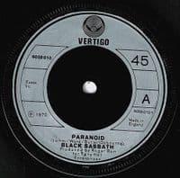 BLACK SABBATH Paranoid Vinyl Record 7 Inch Vertigo